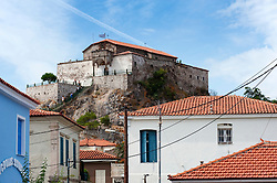 Panayia Glykofilousa church(Virgin Mary of the Sweet Kiss) perched on a hill above Petra on Lesvos Island in Greece