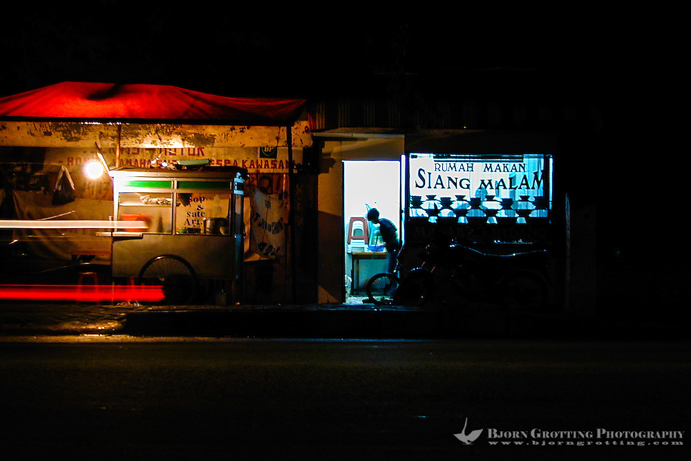 Java, Jakarta. Kemang Raya. An night-open restaurant in the busy Kemang district in south Jakarta.