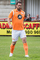 © Licensed to London News Pictures . 02/08/2015 . Droylsden Football Club , Manchester , UK . DANNY DYER . Celebrity football match in aid of Once Upon a Smile and Debra , featuring teams of soap stars . Photo credit : Joel Goodman/LNP