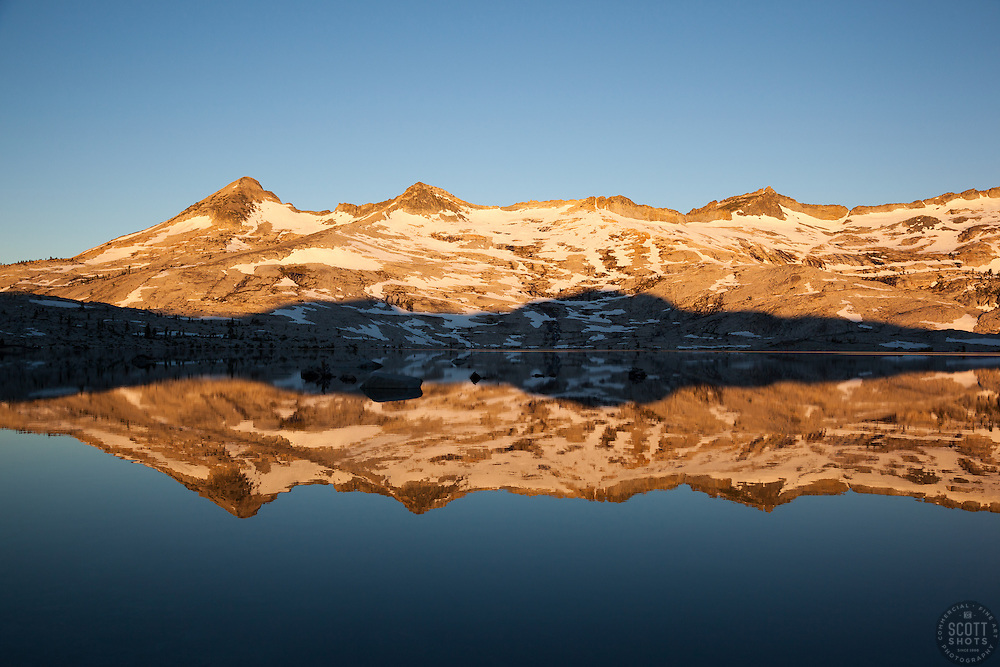 """""""Lake Aloha Reflection 4"""" - These mountains and their reflection were photographed at sunrise at Lake Aloha, in the Tahoe Desolation Wilderness."""