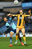 Wycombe Wanderers Paris Cowan-Hall(12) and Cambridge United's Harrison Dunk(11) during the EFL Sky Bet League 2 match between Wycombe Wanderers and Cambridge United at Adams Park, High Wycombe, England on 10 March 2018. Picture by Alistair Wilson.