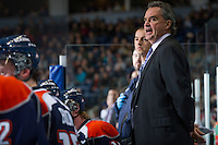 KELOWNA, CANADA - DECEMBER 27:  Guy Charron, head coach of the Kamloops Blazers stands on the bench at the Kelowna Rockets on December 27, 2012 at Prospera Place in Kelowna, British Columbia, Canada (Photo by Marissa Baecker/Shoot the Breeze) *** Local Caption ***