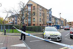 © Licensed to London News Pictures. 14/11/2017. London, UK. The police cordon at Monteagel Way, Nightingale Estate in Hackney this morning. Police were called by London Ambulance Service to reports of a stabbing at Monteagle Way, Nightingale Estate in Hackney at around 0001hrs today. At the scene a 21-year-old male was treated by medical professionals for a stab wound to the chest. The man died at the scene at 0015hrs. Photo credit: Vickie Flores/LNP