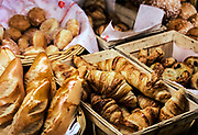 Croissants in a French pastry shop.