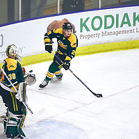 4th year defence man, Landon Peel (28) of the Regina Cougars during the Men's Hockey Home Game on Sat Jan 19 at Co-operators Center. Credit: Arthur Ward/Arthur Images