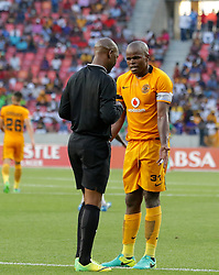 Referee Victor Hlungwani books Willard Katsande (c) of Kaizer Chiefs during the 2016 Premier Soccer League match between Chippa United and Kaizer Chiefs held at the Nelson Mandela Bay Stadium in Port Elizabeth, South Africa on the 3rd December 2016.<br /> <br /> Photo by:   Richard Huggard / Real Time Images