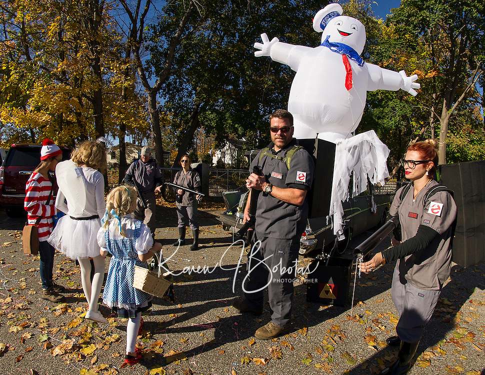 The Ghostbusters were called during the annual Trunk or Treat at Holy Trinity School on Monday afternoon.  (Karen Bobotas/for the Laconia Daily Sun)