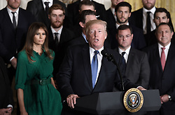 U.S. President Donald Trump speaks during a ceremony to welcome the Stanley Cup Champions, The Pittsburgh Penguins to the White House Oct. 10, 2017 in Washington D.C.. Photo by Olivier Douliery/ Abaca Press