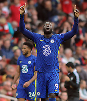 Football - 2021 / 2022 Premier League - Arsenal vs Chelsea - Emirates Stadium - Sunday 22nd August 2021<br /> <br /> Romelu Lukaku of Chelsea making his debut, celebrates at the final whistle<br /> <br /> Credit : COLORSPORT/Andrew Cowie