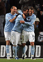 Photo: Paul Thomas/Sportsbeat Images.<br />Manchester City v Sunderland. The FA Barclays Premiership. 05/11/2007.<br /><br />Stephen Ireland (C) of City celebrates his goal with Elano (R) and Martin Petrov (L).