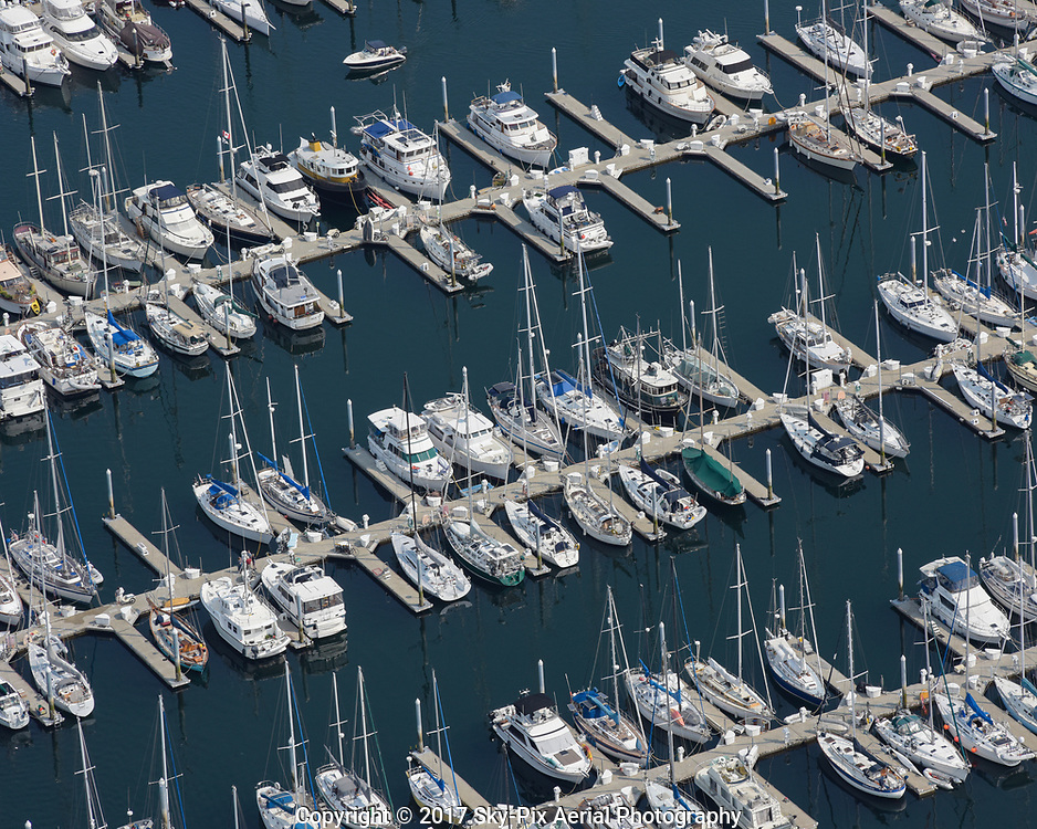 Aerial views of Shilshole Bay Marina off the shores of Seattle's Sunset Hill neighborhood and Puget Sound.