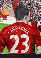 LIVERPOOL, ENGLAND - Saturday, August 29, 2020: A detail view of the signiture of Jamie Carragher on a new street art mural of Liverpool FC players Steven Gerrard, Jamie Carragher, Robbie Fowler, Virgil van Dijk and Kenny Dalglish. The mural was created by Murwalls on the side of the Arc Hotel near Liverpool FC's Anfield Stadium. (Pic by Propaganda)