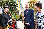 27/1/16 Minister Shane Ross with Maureen Ledwith, director Holiday World and Taiko Drum Troupe members at the Holiday World Show 2017 at the RDS Simmonscourt in Dublin which runs to Sunday 29th January.. Picture: Arthur Carron