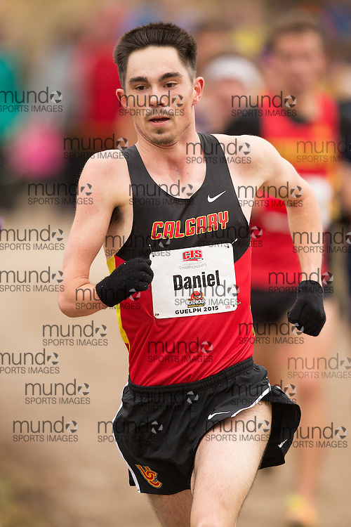 Stefan Daniel of the University of Calgary competes at the 2015 CIS Cross Country Championships in Guelph Ontario, Saturday,  November 14, 2015.<br /> Mundo Sport Images/ Geoff Robins