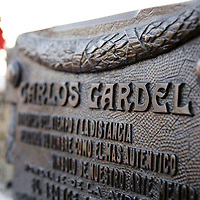 Buenos Aires, Argentina 21 August 2009<br /> The tomb of Carlos Gardel.<br /> Carlos Gardel is perhaps the most prominent figure in the history of tango. Although his birthplace is disputed between Uruguay and France, he lived in Argentina from the age of two and acquired Argentine citizenship in 1923. He grew up in the Abasto neighborhood of Buenos Aires, located near the Central Market of Fruit and Vegetables, an enormous art-deco styled building which today is a shopping mall.<br /> PHOTO: EZEQUIEL SCAGNETTI