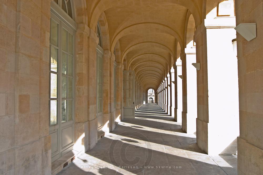 Le Grand Theatre theatre and opera house on Place De La Comedie. Detail. Corridor with columns. Bordeaux city, Aquitaine, Gironde, France