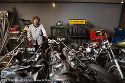 Masato (Morry) Ikumori in his Stoop Motorcycles shop in Kawaguci City, Saitama Prefecture, Japan. Tuesday December 5, 2017. Photography ©2017 Michael Lichter.