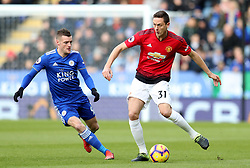 Manchester United's Nemanja Matic (right) and Leicester City's Jamie Vardy battle for the ball