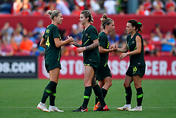 August 2, 2018 - Bridgeview, IL, U.S. - BRIDGEVIEW, IL - AUGUST 02: Australia celebrates the team win against Japan during the 2018 Tournament Of Nations at Toyota Park on August 2, 2018 in Bridgeview, Illinois.  Australia defeated Japan 2-0. (Photo by Quinn Harris/Icon Sportswire) (Credit Image: © Quinn Harris/Icon SMI via ZUMA Press)