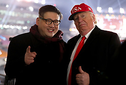 Donald Trump and Kim Jong-un lookalikes during the Opening Ceremony of the PyeongChang 2018 Winter Olympic Games at the PyeongChang Olympic Stadium in South Korea.