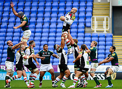 Harlequins Lock (#5) George Robson wins the lineout during the first half of the match - Photo mandatory by-line: Rogan Thomson/JMP - Tel: Mobile: 07966 386802 28/10/2012 - SPORT - RUGBY - Madejski Stadium - Reading. London Irish v Harlequins - Aviva Premiership