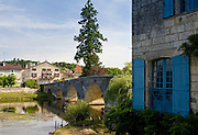 Quaint town of Bourdeilles, popular as a tourist destination near Brantome in Northern Dordogne, France