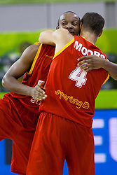 Roel Moors #4 of Belgium celebrates after basketball match between National teams of Germany and Belgium at Day 2 of Eurobasket 2013 on September 5, 2013 in Tivoli Hall, Ljubljana, Slovenia. (Photo By Urban Urbanc / Sportida.com)