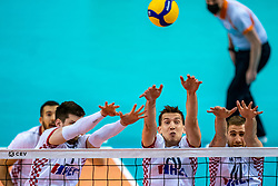 Tsimafei Zhukouski of Croatia, Filip Sestan of Croatia in action during the CEV Eurovolley 2021 Qualifiers between Croatia and Netherlands at Topsporthall Omnisport on May 16, 2021 in Apeldoorn, Netherlands