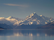 View of Aoraki/Mt. Cook with Lake Pukaki in the foreground; Aoraki/Mt. Cook National Park, New Zealand