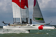 SailGP Team Japan helmed by Nathan Outteridge practice ahead of the Cowes regatta. Event 4 Season 1 SailGP event in Cowes, Isle of Wight, England, United Kingdom. 7 August 2019: Photo Chris Cameron for SailGP. Handout image supplied by SailGP