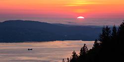 Sunset over Atlantic ocean, shot from Fløyen, Bergen, Norway. 19/05/14. Photo by Andrew Tallon