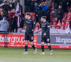 Dunfermline's Kevin Nisbet celebrates after scoring his Patrick and their fourth goal. Dunfermline 5 v 1 Partick Thistle, Scottish Championship game played 30/11/2019 at Dunfermline's home ground, East End Park.