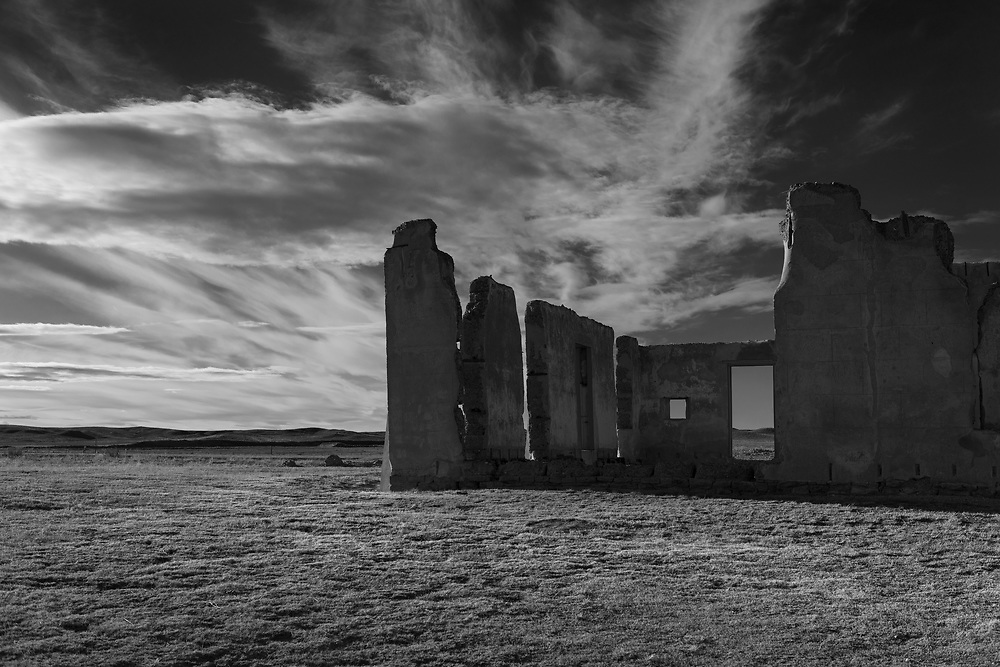 Ruins of a building are seen outside of the historic Fort Laramie in Wyoming.