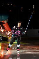 KELOWNA, BC - SEPTEMBER 21:  Leif Mattson #28 of the Kelowna Rockets enters the ice for home opener against the Spokane Chiefs at Prospera Place on September 21, 2019 in Kelowna, Canada. (Photo by Marissa Baecker/Shoot the Breeze)
