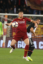 May 12, 2019 - Rome, Lazio, Italy - Roma, Lazio, Italy, 12-05-19, Italian football match between As Roma - Juventus at the Olimpico Stadium in picture Edin Dzeko striker of As Roma contend the ball with Casares midfielder of As Roma , the final score is  0-2 for As Roma  (Credit Image: © Antonio Balasco/Pacific Press via ZUMA Wire)