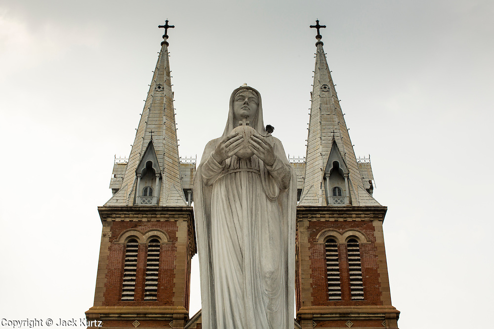 28 MARCH 2012 - HO CHI MINH CITY, VIETNAM:   Exterior of Notre Dame Cathedral in Ho Chi Minh City (Saigon), Vietnam. The cathedral was built in the mid 1800's for the Roman Catholic French colonialists who ruled what was then Indochina. Vietnam still has a sizeable minority of Roman Catholics.    PHOTO BY JACK KURTZ