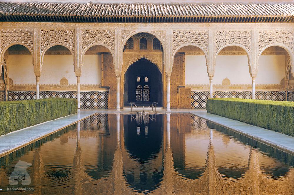 'Patio de Los Arrayanes' at La  Alhambra palace, Granada, Spain.