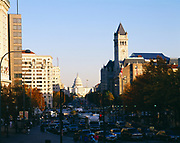 View down Pennsylvania Avenue to the United States Capitol Building, Washington, District of Columbia.