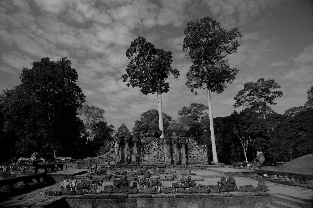 This image was shot at the Terrace of Elephants in Angkor Thom city, part of the Angkor complex in Siem Reap, Cambodia that includes the world's largest single religious monument, the breathtaking Angkor Wat. <br /> <br /> The Terrace of Elephants, named  because of the elephant bas-reliefs on its wall and the elephant statues flanking the staircase, was used as a giant viewing platform for public ceremonies and extends for over 1000 feet (350 meters.) <br /> <br /> Angkor Thom, at the center of which lies the amazing Bayon temple is the last and most enduring city of the Khmer empire. It was built by King Jayavarman VII as a fortified city of almost 4 sq miles or 10 sq km on the right bank of the Siem Reap River, a tributary of Tonle Sap Lake.<br /> <br /> It has been featured in many book, films and video games of pop culture most notably in the Angelina Jolie film, Lara Croft: Tomb Raider.