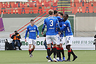 GOAL Rangers midfielder Ryan Jack (8) scores to make it 0-1 and celebrates during the Ladbrokes Scottish Premiership match between Hamilton Academical FC and Rangers at New Douglas Park, Hamilton, Scotland on 24 February 2019.