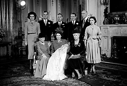File photo dated 15/12/48 of Queen Elizabeth II holding her son, the Prince Charles after his christening in Buckingham Palace. With her seated to the left is Dowager Marchioness of Milford Haven, and right is the Prince's Great Grandmother Queen Mary. Godparents standing from left to right; Lady Brabourne, the Duke of Edinburgh (standing proxy for Prince George of Greece), King George VI, David Bowes-Lyon, the Earl of Athlone (who stood proxy for the King of Norway) and Princess Margaret. The Duke of Edinburgh has died, Buckingham Palace has announced. Issue date: Friday April 9, 2020.. See PA story DEATH Philip. Photo credit should read: PA Wire