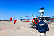 Nederland, Drenthe, Eelde, 01-05-2013; Groningen Airport Eelde,  de helikopter is aan het refueling.<br /> Helicopter taking avgas <br /> luchtfoto (toeslag op standard tarieven)<br /> aerial photo (additional fee required)<br /> copyright foto/photo Siebe Swart