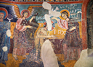 Twelfth century Romanesque frescoes of the Apse of Estaon depicting scenes from the middle register showing the Baptism of Christ by John The Baptist,  from the church of Sant Eulalia d'Estaon, Vall de Cardos, Catalonia, Spain. National Art Museum of Catalonia, Barcelona. MNAC 15969