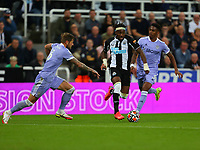 NEWCASTLE UPON TYNE, ENGLAND - SEPTEMBER 17: Allan Saint-Maximin of Newcastle United brings the ball forward during the Premier League match between Newcastle United and Leeds United at St. James Park on September 17, 2021 in Newcastle upon Tyne, England. (Photo by MB Media)