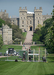 © Licensed to London News Pictures. 08/05/2018. Windsor, UK. Media stands are being erected on The Long Walk at Windsor Castle ahead of the Royal Wedding of Prince Harry and Meghan Markle. With 12 days to go there is lots of activity in and around the grounds of Windsor Castle. Photo credit: Peter Macdiarmid/LNP