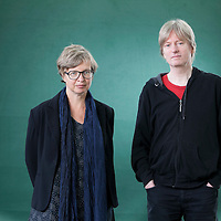Jenny Erpenbeck (left), the German director and writer, with Michel Faber, the Dutch-born writer, at the Edinburgh International Book Festival 2015.<br /> Edinburgh, Scotland. 27th August 2015 <br /> <br /> Photograph by Gary Doak/Writer Pictures<br /> <br /> WORLD RIGHTS