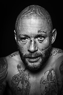Ultimate bare-Knuckle boxing competition at Manchester's Bowlers Exhibition Centre, Old Trafford, Manchester, UK.<br /> Photo shows Chris Wheeldon, who won his fight against Seamus Devlin.<br /> Photo ©Steve Forrest/Workers' Photos