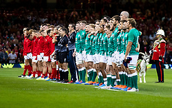 The teams line up for the anthems<br /> <br /> Photographer Simon King/Replay Images<br /> <br /> Friendly - Wales v Ireland - Saturday 31st August 2019 - Principality Stadium - Cardiff<br /> <br /> World Copyright © Replay Images . All rights reserved. info@replayimages.co.uk - http://replayimages.co.uk