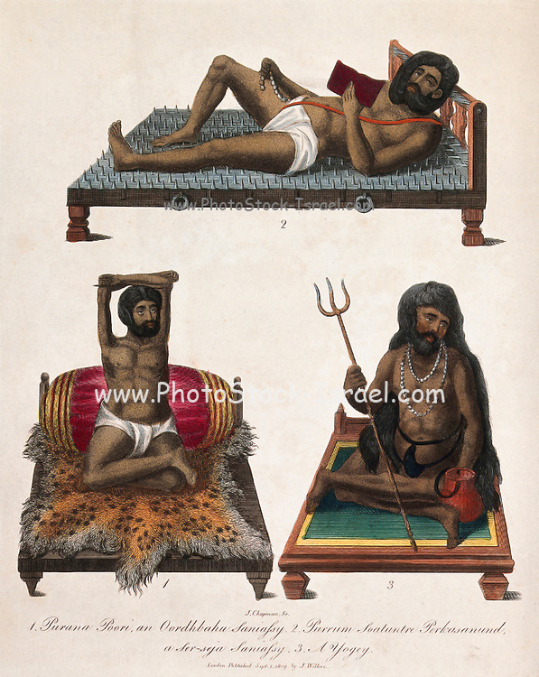 Three Hindu ascetics, or holy men: above, a man lying on a bed of nails; below left, a man seated in the lotus position with withered arms raised above his head; below right, a man seated in the lotus position holding a trident. 1. Purana Poori, an Oordhbahu saniassy. 2. Purrum Soatuntre Perkasanund, a Ser-seja saniassy. 3. A yogey [Yogi] Colour engraving by J. Chapman, 1809. From the Encyclopaedia Londinensis or, Universal dictionary of arts, sciences, and literature; Volume X;  Edited by Wilkes, John. Published in London in 1811