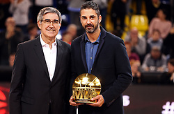 November 1, 2018 - Barcelona, Catalonia, Spain - Tribute to Juan Carlos Navarro before the match between FC Barcelona and Maccabi Tel Aviv, corresponding to the week 5 of the Euroleague, played at the Palau Blaugrana, on 01 November 2018, in Barcelona, Spain. (Credit Image: © Joan Valls/NurPhoto via ZUMA Press)